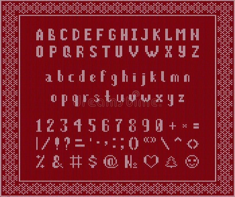 Kerstmis gebreide Doopvont Latijns Alfabet op naadloze achtergrond royalty-vrije illustratie