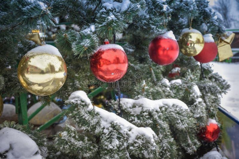 Kerstmis gekleurde ballen op de boom in de sneeuw stock afbeeldingen