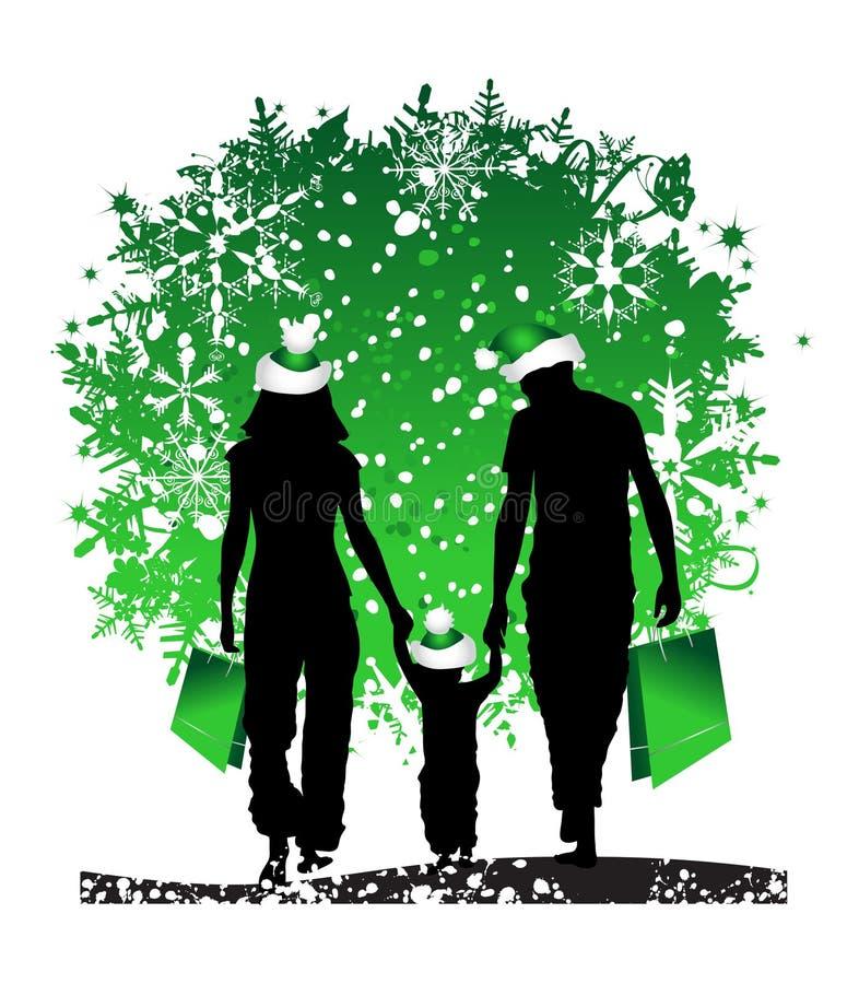 Kerstmis, gelukkige familie stock illustratie