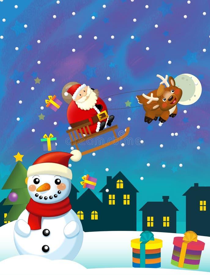 Kerstmis gelukkige scène met verschillende dieren de Kerstman en sneeuwman vector illustratie