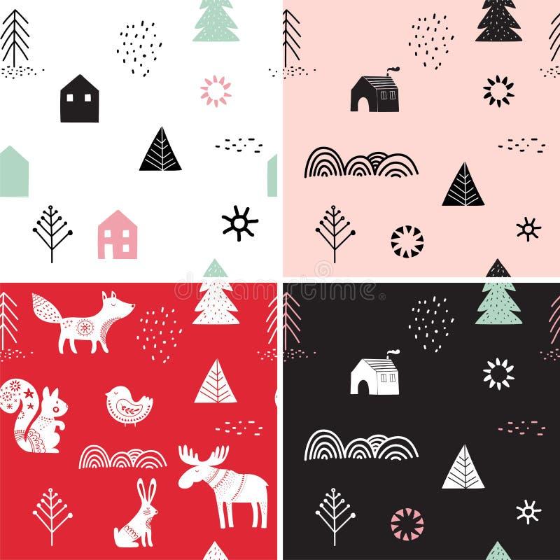 Kerstmis, geplaatste de winter naadloze patronen royalty-vrije illustratie