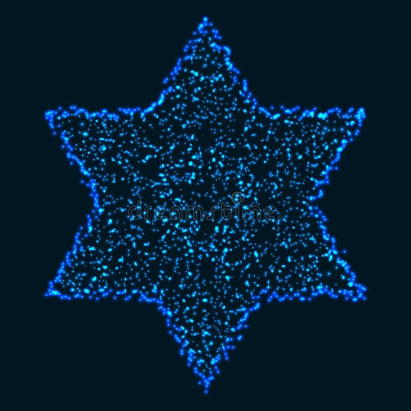 Kerstmis Gloeiende Blauwe Kleurrijke Hexagonale Ster stock illustratie