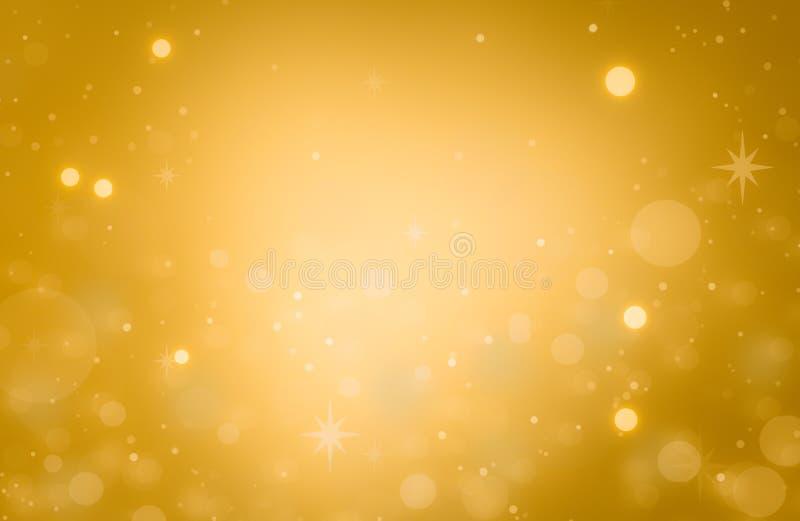 Kerstmis gloeiende Gouden Achtergrond De Lichten van Kerstmis Gouden Holi vector illustratie