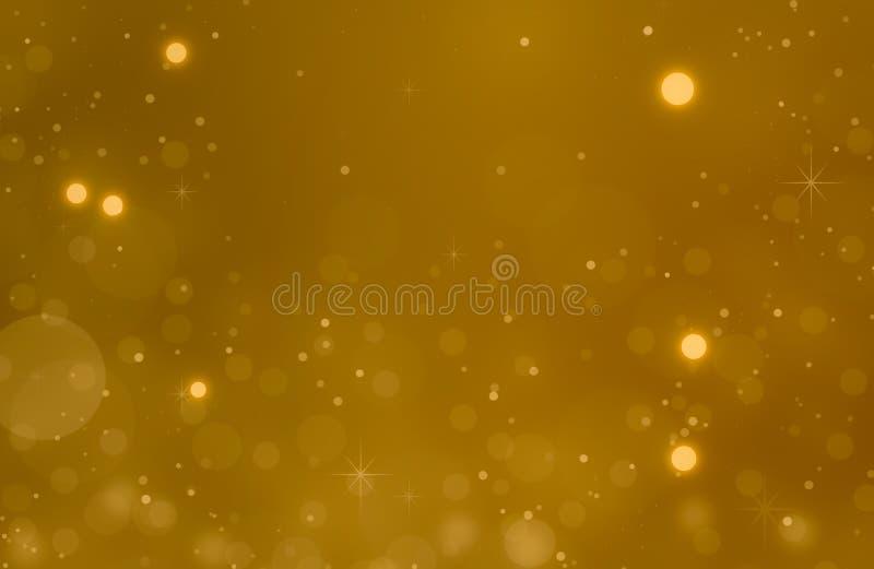Kerstmis gloeiende Gouden Achtergrond De Lichten van Kerstmis Gouden Holi stock illustratie