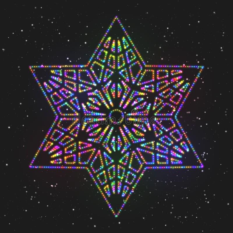Kerstmis Gloeiende Kleurrijke Hexagonale Ster royalty-vrije illustratie