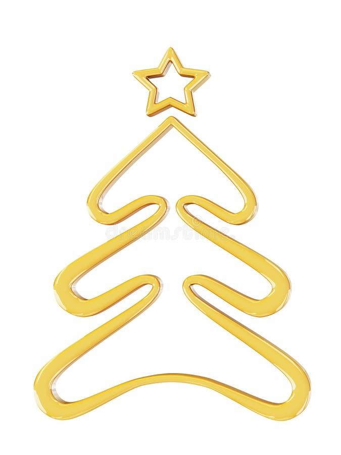Kerstmis gouden boom royalty-vrije illustratie