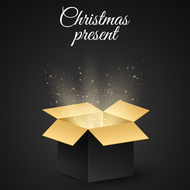 Kerstmis gouden doos met een geheime gift voor de vakantie Abstracte gloed en gouden lichten Donkere achtergrond Open magische gi vector illustratie