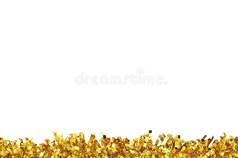 Kerstmis gouden klatergoud voor decoratie wit isoleer stock foto