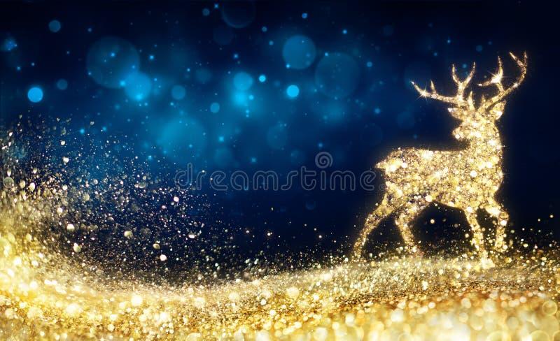 Kerstmis - Gouden Rendier stock illustratie