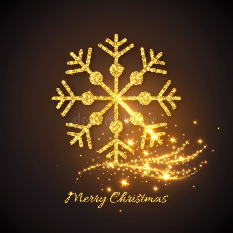 Kerstmis gouden sneeuwvlok met het gloeien lichten vector illustratie