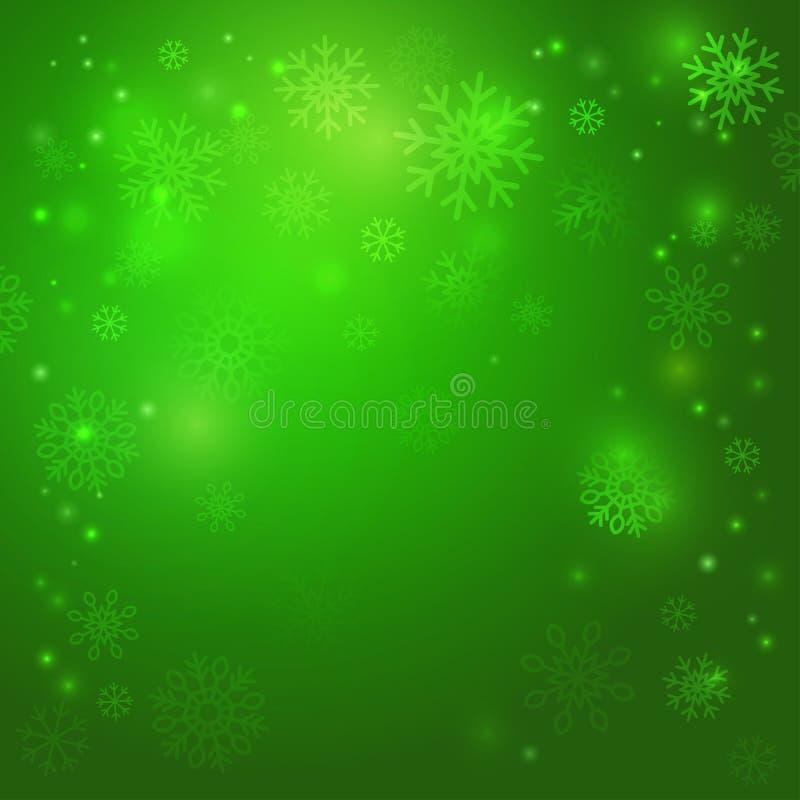 Kerstmis groene Vectorachtergrond met sneeuwvlokken stock illustratie