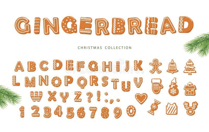 Kerstmis grote reeks Peperkoekdoopvont en verschillende koekjesinzameling stock illustratie