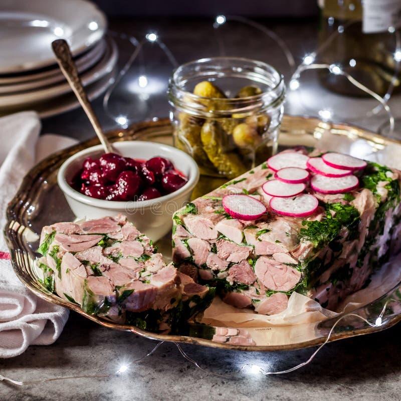 Kerstmis Ham Hock Terrine stock foto