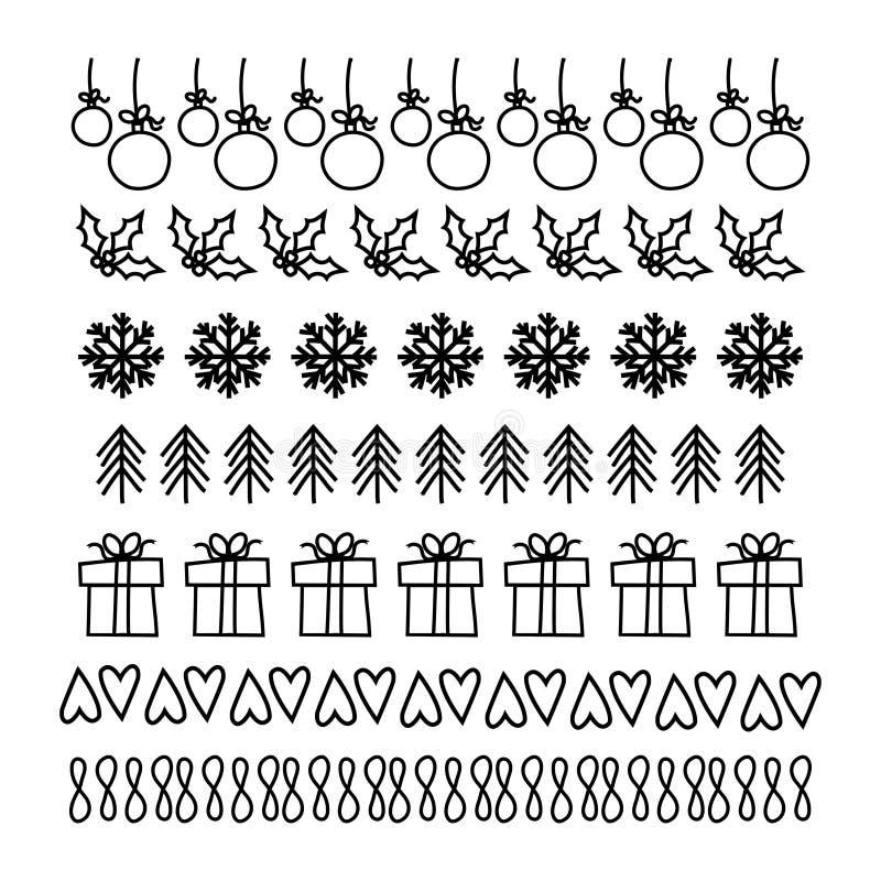 Kerstmis, Hand getrokken reeks lijnkaders stock illustratie