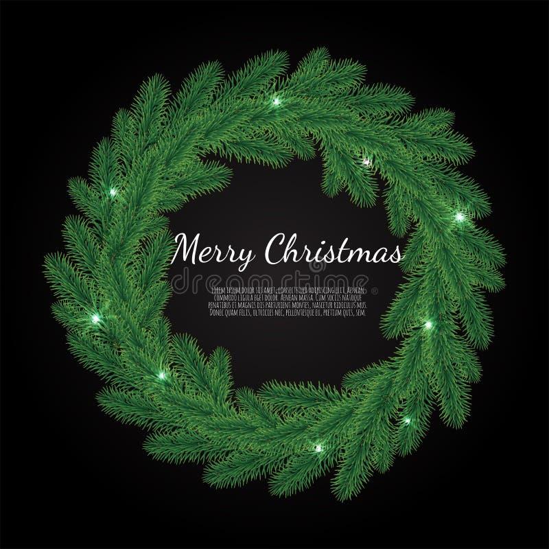 Kerstmis heldere achtergrond met gouden Kerstmisdecoratie De vrolijke kaart van de Kerstmisgroet royalty-vrije illustratie