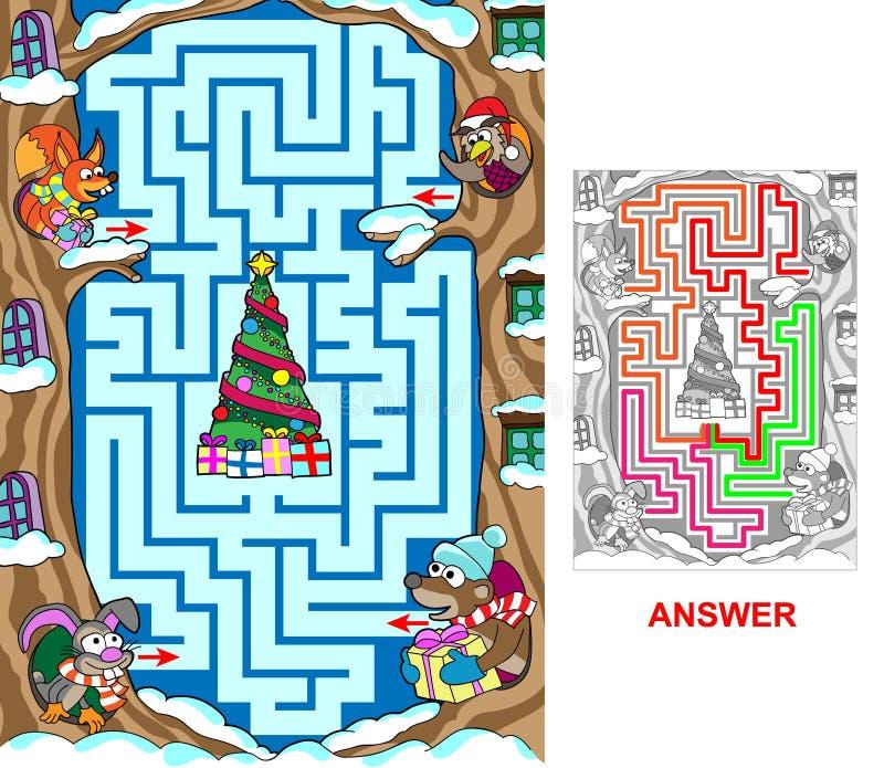 Kerstmis in het bos royalty-vrije illustratie