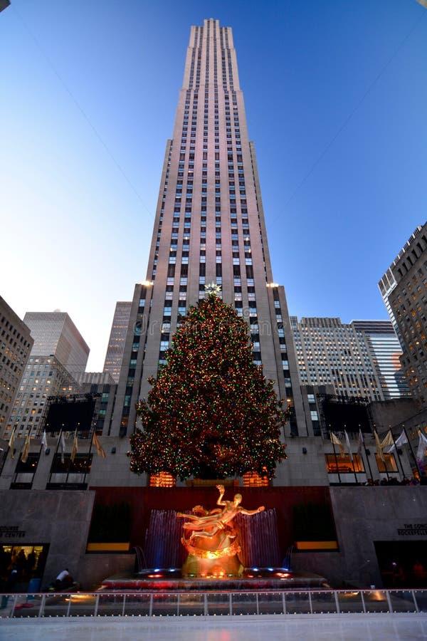 Kerstmis in het Centrumkerstboom van New York - Rockefeller- royalty-vrije stock foto's