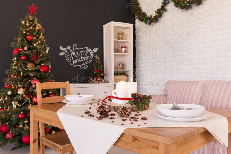 Kerstmis het dineren zaal royalty-vrije stock fotografie