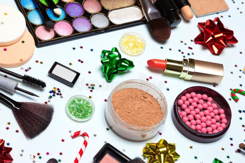 Kerstmis het fonkelen de make-up, heldere vakantie maakt omhoog - omhoog sluiten royalty-vrije stock afbeelding