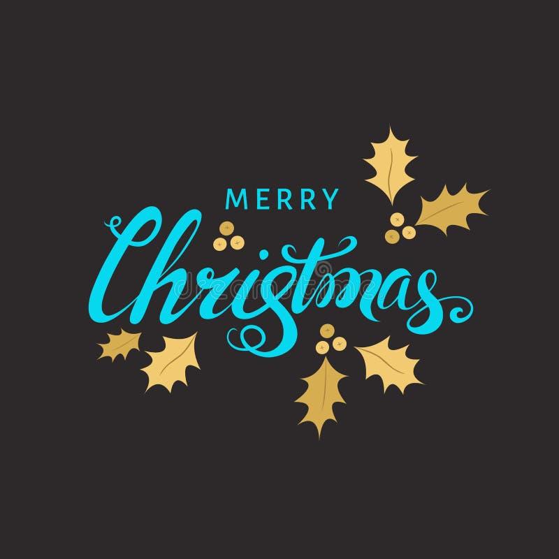 Kerstmis het van letters voorzien met gouden takje van hulst op zwarte stock illustratie