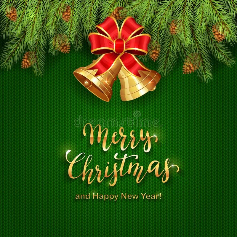 Kerstmis het Van letters voorzien op Groene Gebreide Achtergrond met Gouden Klok royalty-vrije illustratie