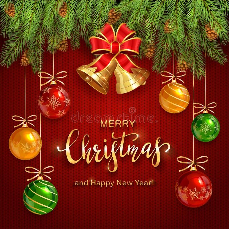 Kerstmis het Van letters voorzien op Rode Gebreide Achtergrond met Gouden Klokken stock illustratie