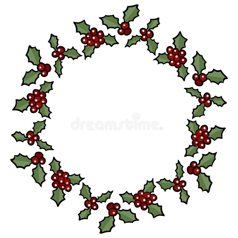 Kerstmis Holly Berry Wreath Het vector geïsoleerde element van de beeldverhaalvakantie decoratie vector illustratie