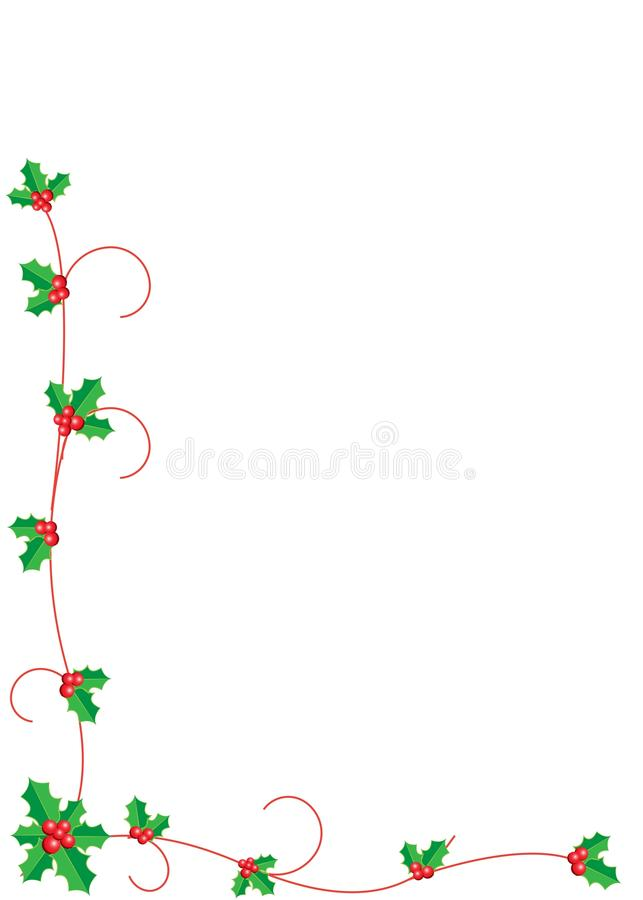 Kerstmis Holly Border vector illustratie