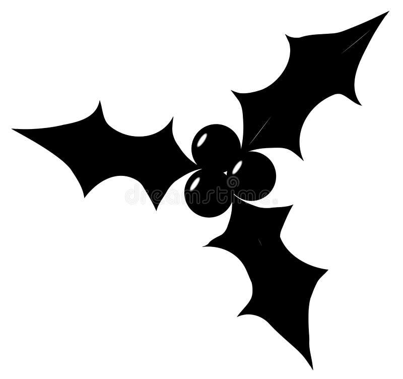 Kerstmis Holly Leaf Silhouette vector illustratie