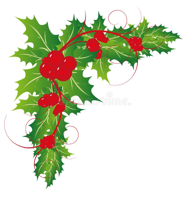 Kerstmis Holly Leaves Ornaments vector illustratie