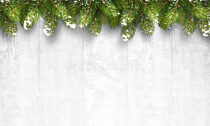 Kerstmis houten achtergrond met spartakken royalty-vrije illustratie
