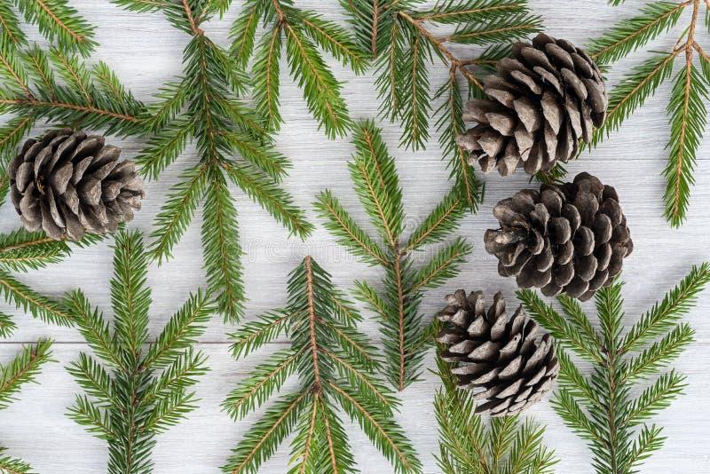 Kerstmis houten die achtergrond van spartakken en kegels wordt gemaakt royalty-vrije stock foto