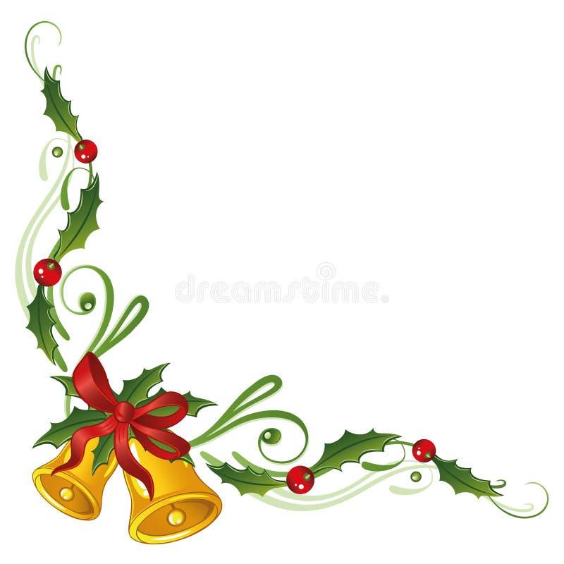 Kerstmis, hulst, klokken stock illustratie