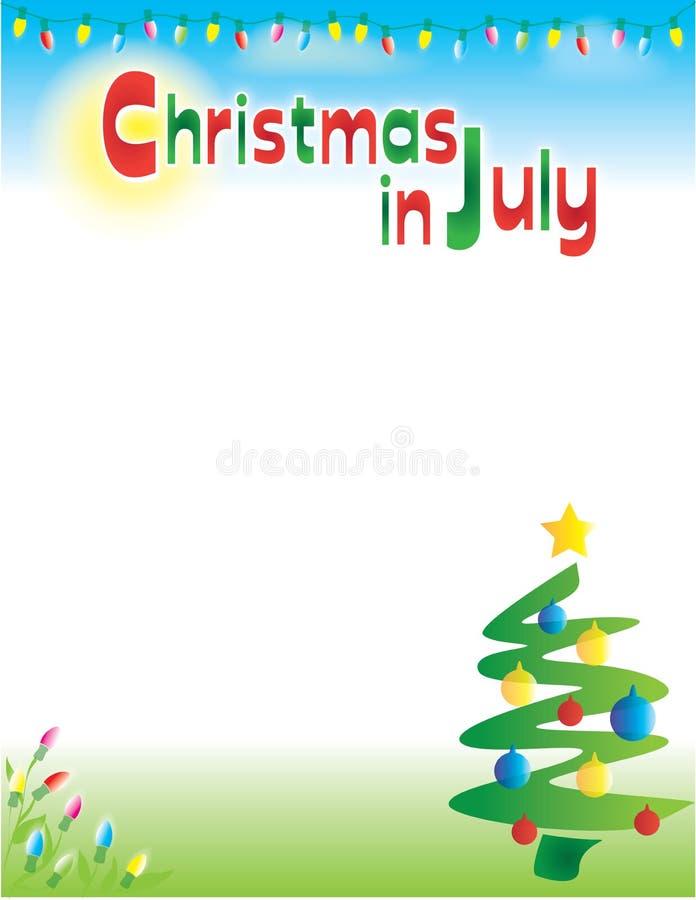 Kerstmis in Juli-van de Achtergrond prentbriefkaarvlieger Malplaatje stock illustratie