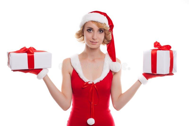 Kerstmis, Kerstmis, de winter, gelukconcept - glimlachend blonde wom royalty-vrije stock foto's
