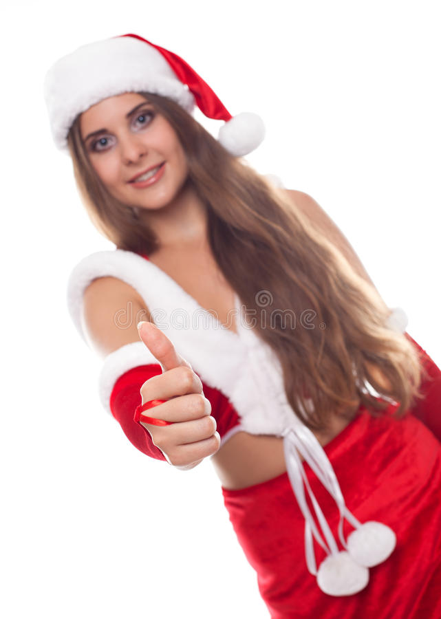 Kerstmis, Kerstmis, de winter, gelukconcept - glimlachende vrouw in s stock fotografie