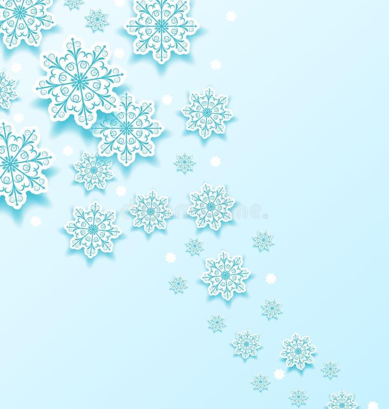 Kerstmis koude achtergrond met sneeuwvlokken royalty-vrije illustratie