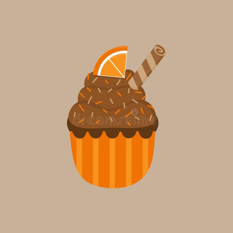 Kerstmis kruidde oranje cupcake vectorillustratie vector illustratie