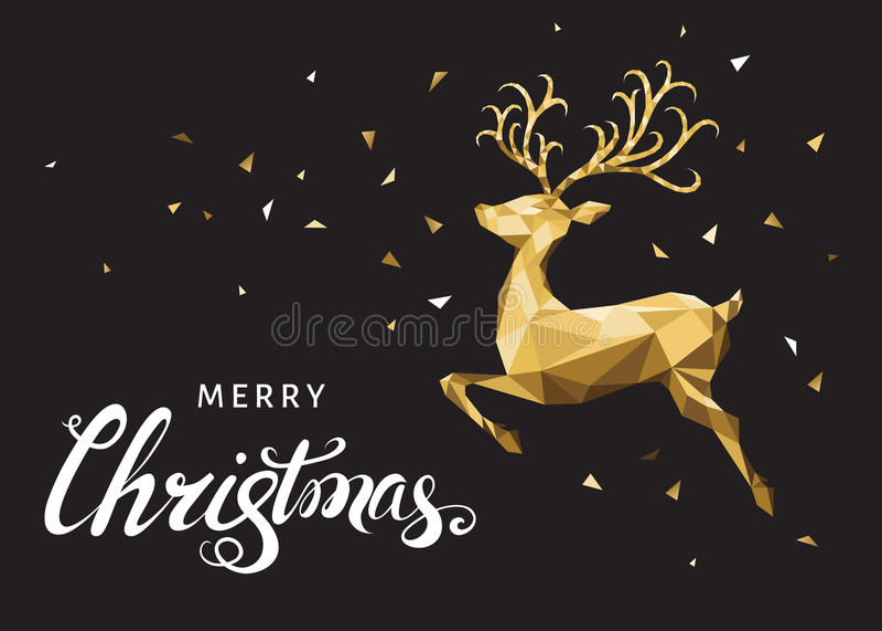 Kerstmis lage polydriehoek gouden herten en het van letters voorzien stock illustratie