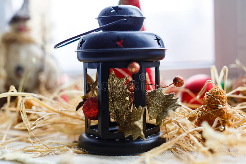 Kerstmis lamp-lantaarn decoratie royalty-vrije stock foto's