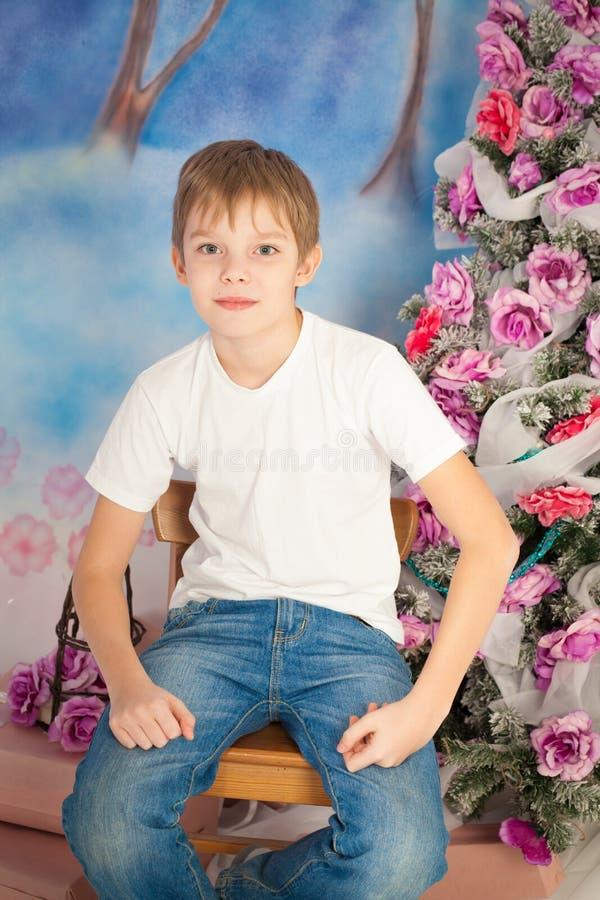 Kerstmis leuke jongen royalty-vrije stock fotografie