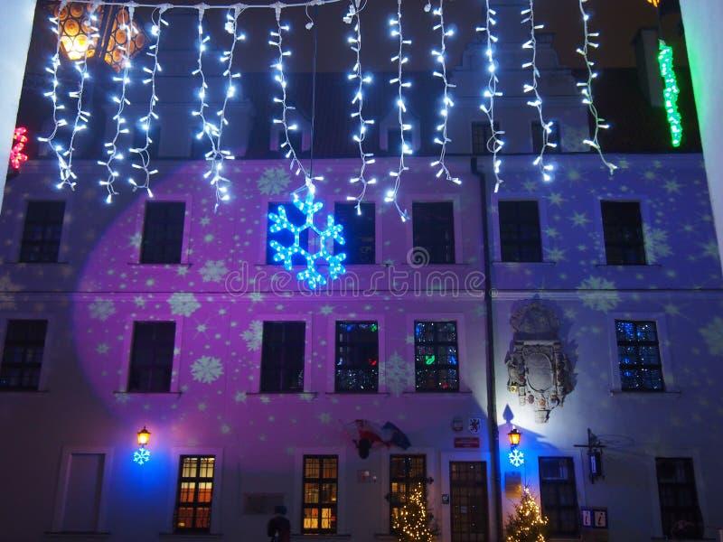 Kerstmis lichte decoratie bij Hertogelijk Kasteel in Szczecin royalty-vrije stock foto's