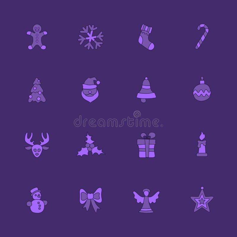 Kerstmis lineair die pictogram op viooltje wordt geplaatst royalty-vrije illustratie