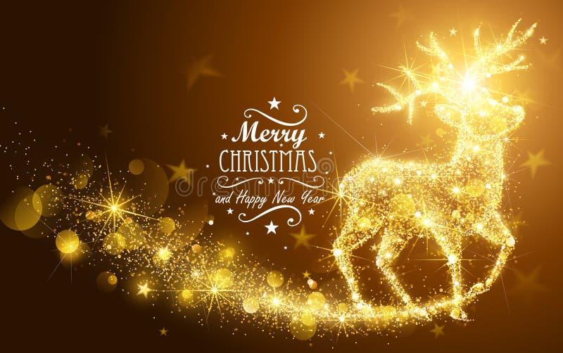 Kerstmis Magische Herten royalty-vrije illustratie