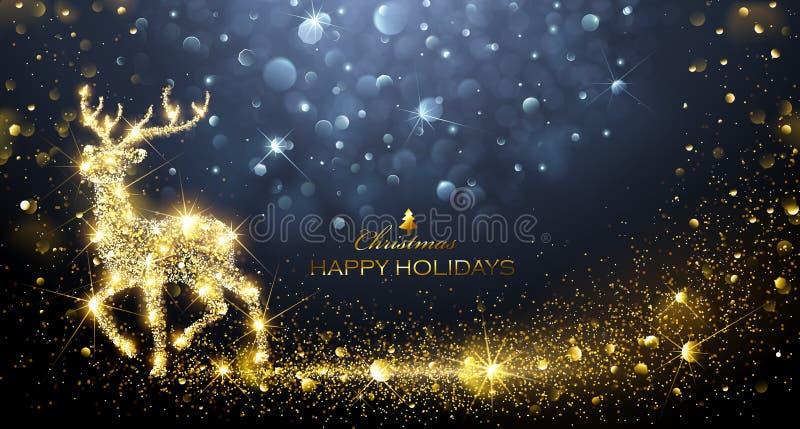 Kerstmis Magische Herten stock illustratie