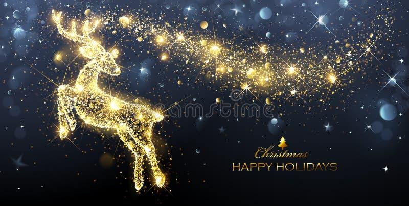 Kerstmis Magische Herten vector illustratie