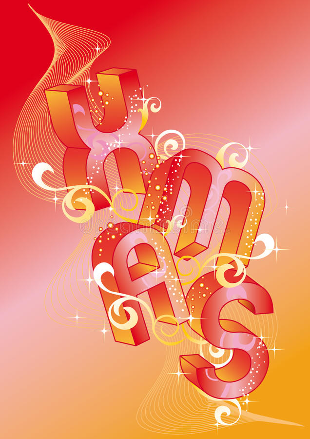 Kerstmis met 3d brieven, vector royalty-vrije illustratie