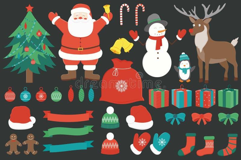 Kerstmis met decoratieelementen dat wordt geplaatst Getrokken hand Vector vector illustratie