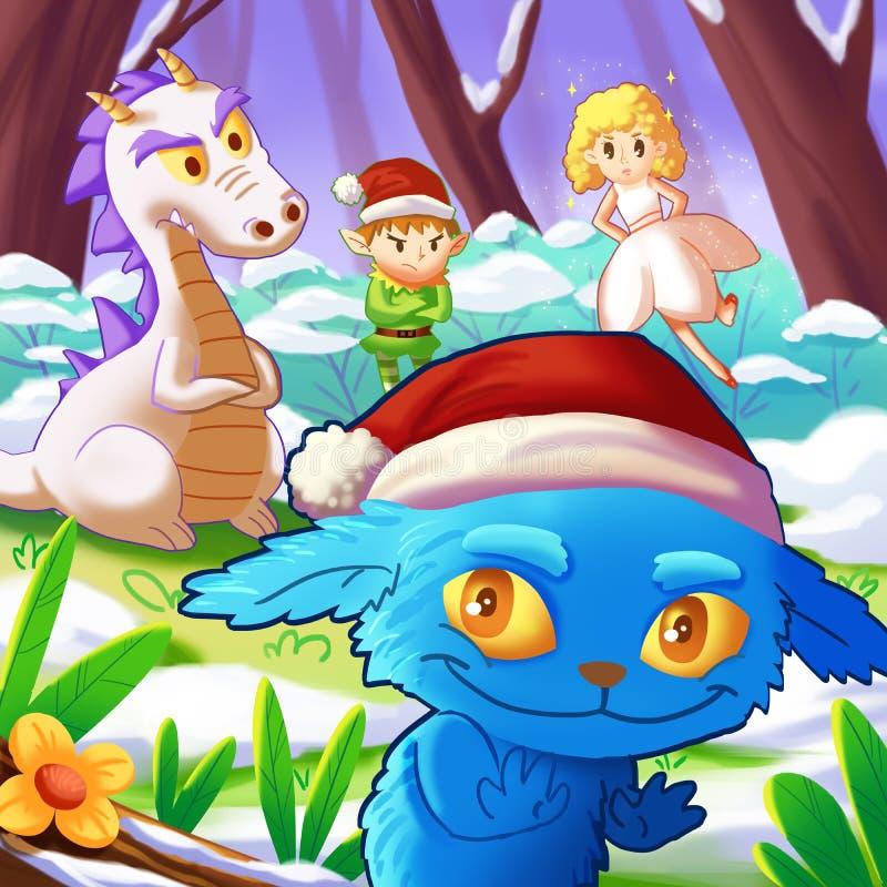 Kerstmis met Fantastische Karakters, de Draak, de IMP-Jongen, het Elf, de Fee vector illustratie