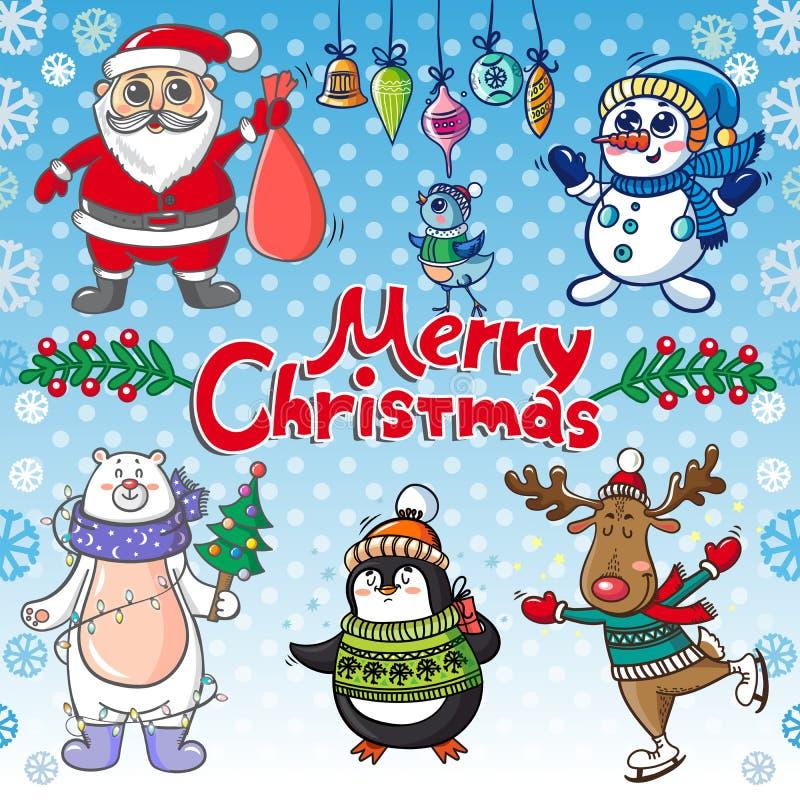 Kerstmis met grappige personages wordt geplaatst dat stock illustratie
